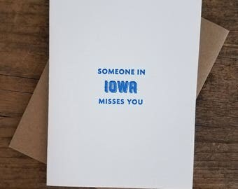 Someone in Iowa Misses You Letterpress Card