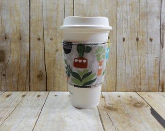 Fabric Coffee Cozy / Cactus Coffee Cozy / Cacti Coffee Cozy / Plants Coffee Cozy / Sewing Coffee Cozy / Coffee Cozy / Tea Cozy