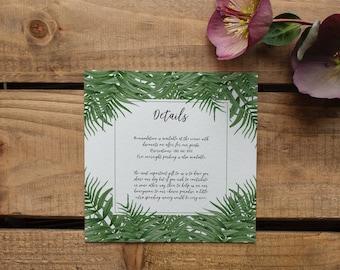 CATALINA // Wedding Stationery // Additional Info Card