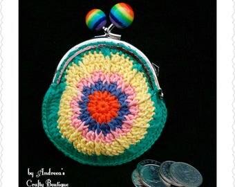 Crochet Kiss Lock Coin Purse, Change Purse, Handmade Money Pouch, Cotton Coin Purse, Rainbow Kiss Clasp Metal Frame
