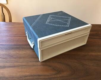 1970s Sears 33/45 Blue Denim Phono Portable Suitcase Phonograph