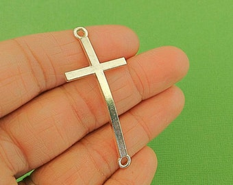 4 Silver Curved Cross Connector Charms