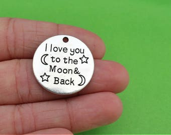 4 I Love You to the Moon and Back Silver Charms