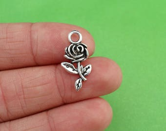6 Rose Flower Silver Beauty and the Beast Charms