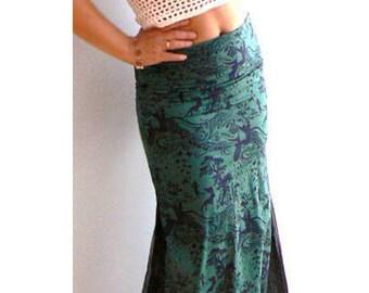 Green print mermaid skirt. Prince charming maxi print skirt- Elegant women cotton skirt. Long summer green skirt. Low rise fashion skirt
