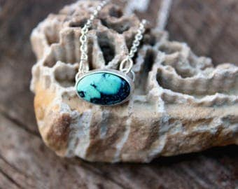 """Prince Variscite from Nevada Dainty Layering Necklace//Sterling Silver//16"""" Chain"""