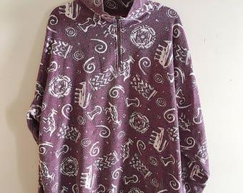 Retro 90s All Over Print Navajo Quarter Zip Up Fleece