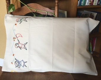 Hand Made Embroidered Muslin Pilow Cases