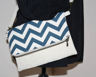 Crossbody Shoulder Bag Clutch in Blue and Natural Chevron Canvas and Muslin Lining with Detachable Strap