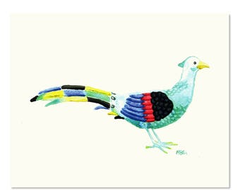 Multicolored Pheasant Watercolor Art Print, Bird Painting, Watercolor Bird