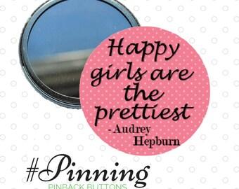 "Audrey Hepburn Pocket Mirror ""Happy Girls are the Prettiest"" Cosmetic Mirror - Polka Dot Mirror"
