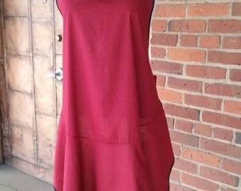 Retro 1920-1930's apron in red and black