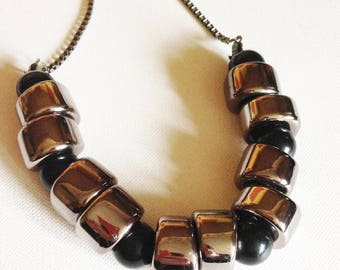 Beads -  silver beads and black plastic beads lovely large chunky beads necklace