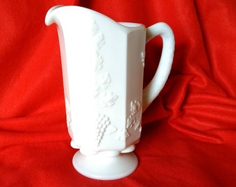 Paneled Grape Westmoreland Milk Glass Pitcher