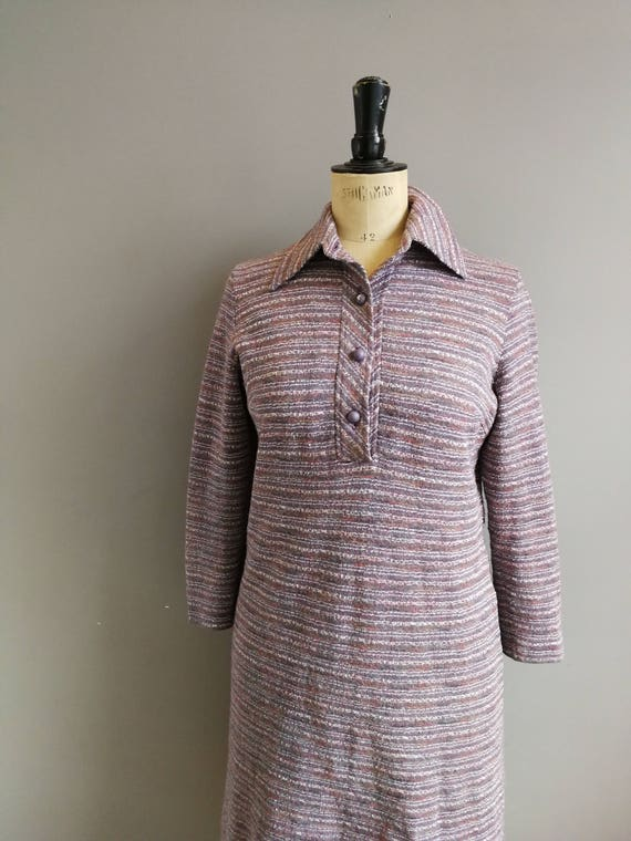 70s purple vintage dress / striped purple mod dress / 70s long sleeve winter shirt dress /retro collar dress / boho retro dress / uk 10 12