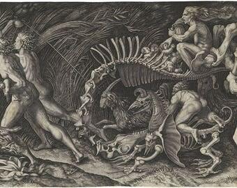 """Agostino Veneziano : """"The Carcass / Lo Stregozzo"""" (c. 1520) - Giclee Fine Art Print"""