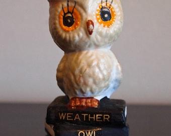 Vintage 70s Kitschy Ceramic Owl Figurine
