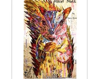Fiberworks Laura Heine Collage Hazel Nutt Squirrel Quilt Pattern 40 x 58