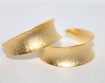 Greek Goddess TITANESS Hammered Large Gold Hoop Earrings