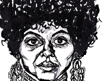 Diana Ross Ink Drawing