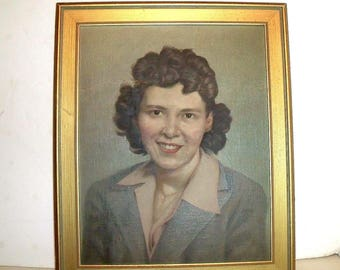 Vintage Oil Portrait Mid Century Folk Art Painting Canvas