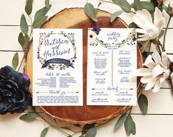 Autumn Wedding Programs — Floral Fall Programs for a Garden Wedding — Printable or Printed