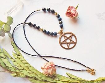 Beaded Lapis Lazuli and Onyx Gemstone Pentacle Necklace
