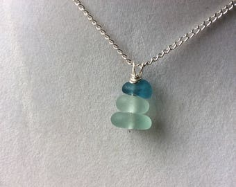 Blue Seaham sea glass seaglass stacking pendant necklace mermaids tears uk ocean beach silver plated 925 sterling gift her English england