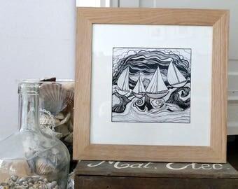 Nostos 30x30cm -  Black and white, art print, illustration, wind, waves, boats, sea, ocean, nature