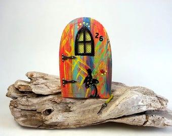 Red and blue handpaint little fairy door with window,miniature world,fairy garden,shrink plastic,handpaint