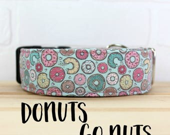 Dog Collar in Mint Donut for Girl Dog. Can be made in a Buckle or Martingale Collar. PLEASE READ Item Details before ordering