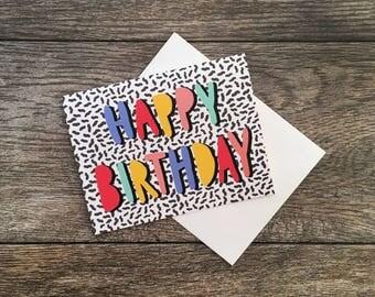 Happy Birthday Memphis Design Greeting Card