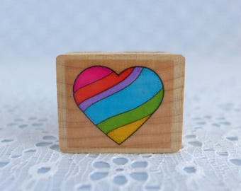 Small Heart Stamp, Striped Heart Stamp, Wood Mounted Rubber Stamp, Paper Crafts, Card Tag Making