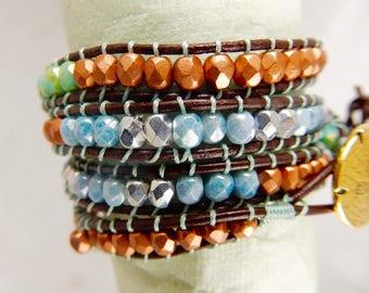 Copper blue-green leather wrap bracelet