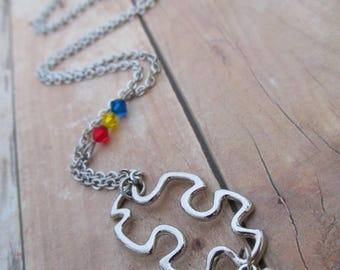 Autism Awareness Necklace, Puzzle Piece, Spectrum, Support