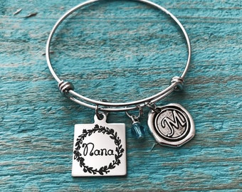 Nana, Nana Bracelet, Silver Bracelet, Nana Gift, Nana Jewelry, Gift for Nana, Bangle Bracelet, Charm Bracelet, Silver Jewelry, Gifts for