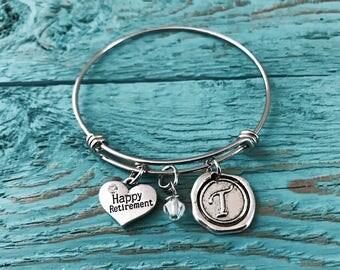 SALE, Retirement Gift, Silver Bracelet, Happy Retirement, Retirement Bangle, Adjustable, Bangle Bracelet, Charm Bracelet, Gifts for