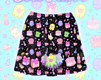 "Black ""OctoParty"" Skirt"