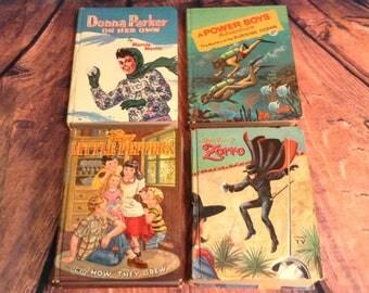 Set of 4 Classic Whitman Books - 1950s, 1960s - Power Boys, Walt Disney's Zorro, Donna Parker, 5 Little Peppers