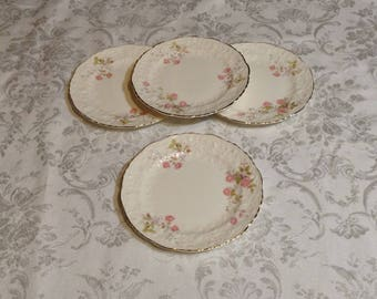 Set of 4 Medium Plates, Rose Point with Embellished Floral Trim - Fine China with Gold Trim - Discontinued Pope Gosser - Wedding Serving