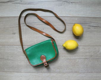 Vintage 90s Club Monaco green leather satchel purse
