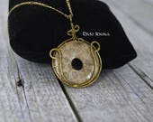 Beautiful fossil Coral pendant with wire / Dougnat pendant with wire frame / Unique piece