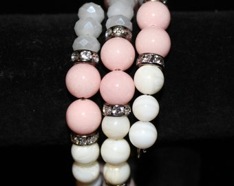 Pink and white memory wire bracelet