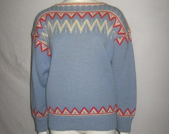 Vintage Light Blue Bone Red Zig Zag Pattern Boatneck Pullover Sweater