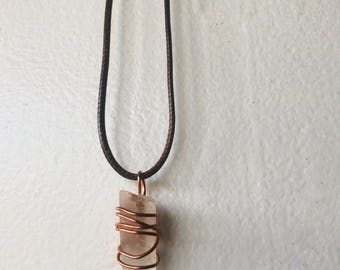 Wire Wrapped Raw Quartz Short Necklace