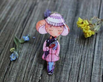 Cute Mouse brooch pin Mouse jewelry animal brooch pin animal jewelry gifts under 25 (0127)
