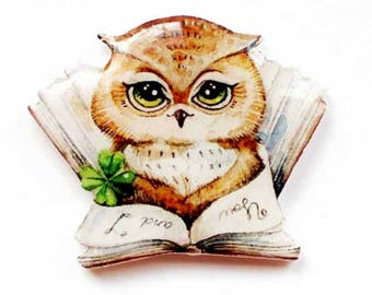 owl gift owl jewelry baby girl gift best friend gift book lover gift owl brooch owl pin animal pin school book gift for sister book pin
