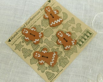 Happy Hollow Designs - Handcrafted Earthenware Buttons - Gingerbread Folk -  Card of Four