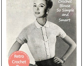 Crochet Blouse 1950's Pattern - PDF Crochet Pattern - PDF Instant Download - Rockabilly - Pin up