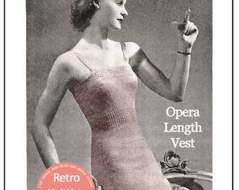 1940's Opera Length Vest  Knitting Pattern -  PDF Pattern - PDF Lingerie Pattern - Instant Download